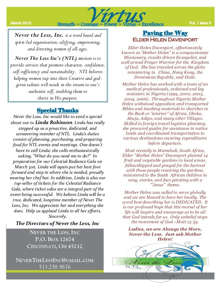 Virturs   ntl monthly newsletter - vol 1 issue 5 - 3.22.2012 final