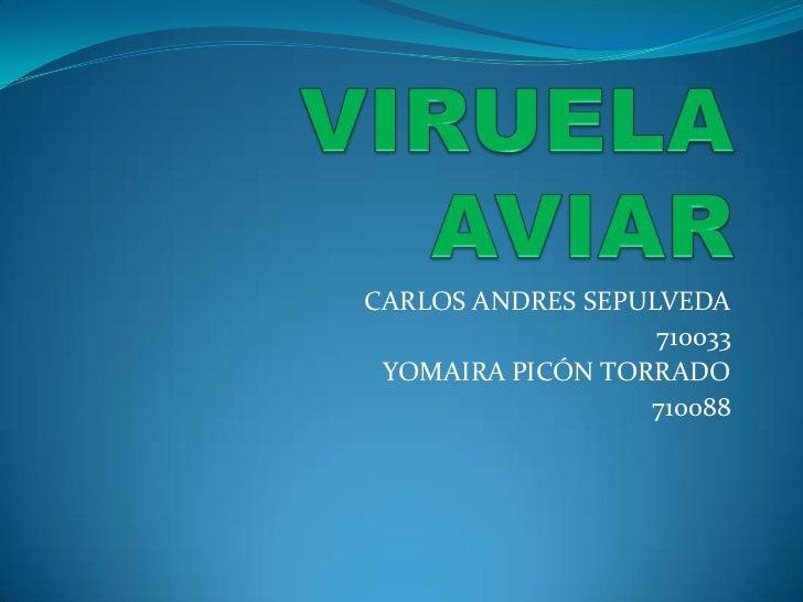 VIRUELA AVIAR<br />CARLOS ANDRES SEPULVEDA<br />710033<br />YOMAIRA PICÓN TORRADO<br />710088<br />
