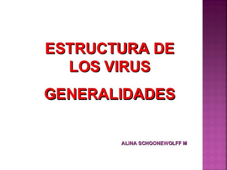 ESTRUCTURA DE LOS VIRUS GENERALIDADES ALINA SCHOONEWOLFF M