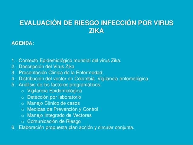 EVALUACIÓN DE RIESGO INFECCIÓN POR VIRUS ZIKA AGENDA: 1. Contexto Epidemiológico mundial del virus Zika. 2. Descripción de...