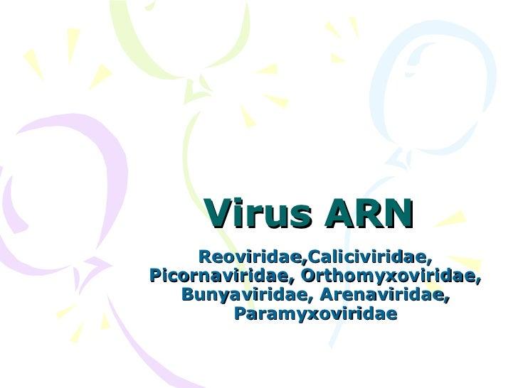 Virus ARN  Reoviridae,Caliciviridae, Picornaviridae, Orthomyxoviridae, Bunyaviridae, Arenaviridae, Paramyxoviridae