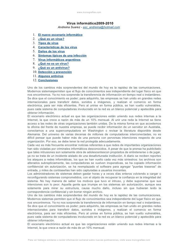 www.monografias.com                                       Virus informático2009-2010                            Andreina S...
