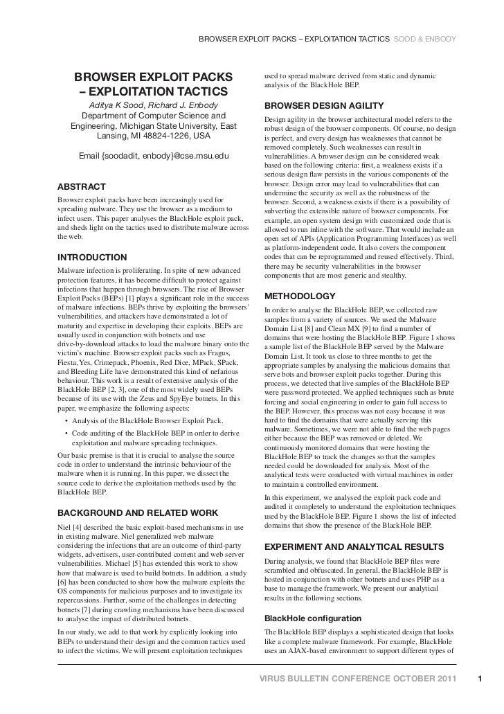 BROWSER EXPLOIT PACKS – EXPLOITATION TACTICS SOOD & ENBODY     BROWSER EXPLOIT PACKS                                      ...