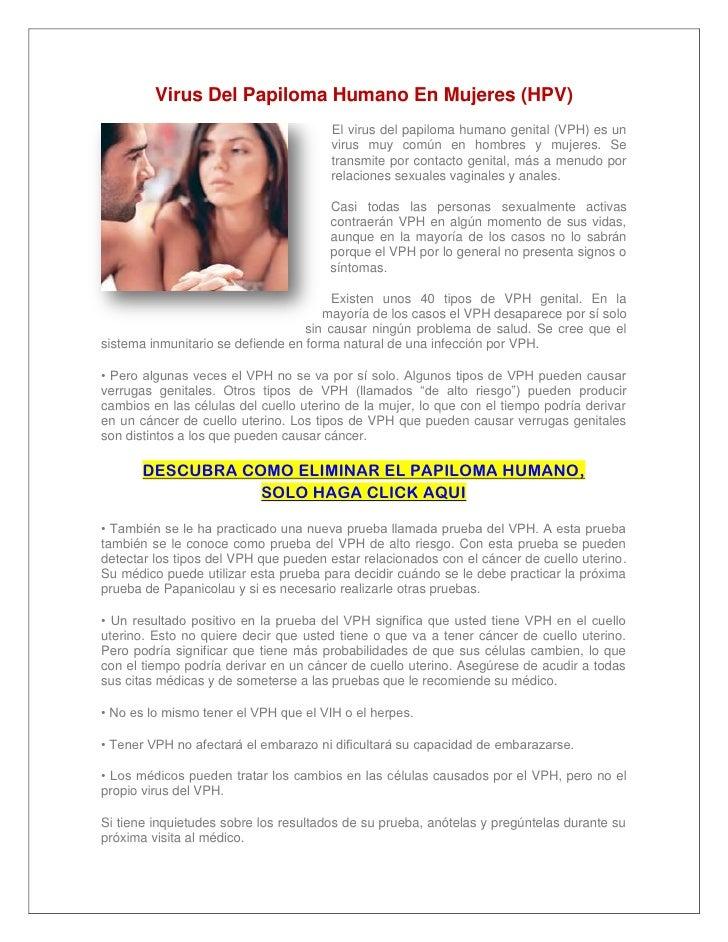Virus Del Papiloma Humano En Mujeres (HPV)                                       El virus del papiloma humano genital (VPH...