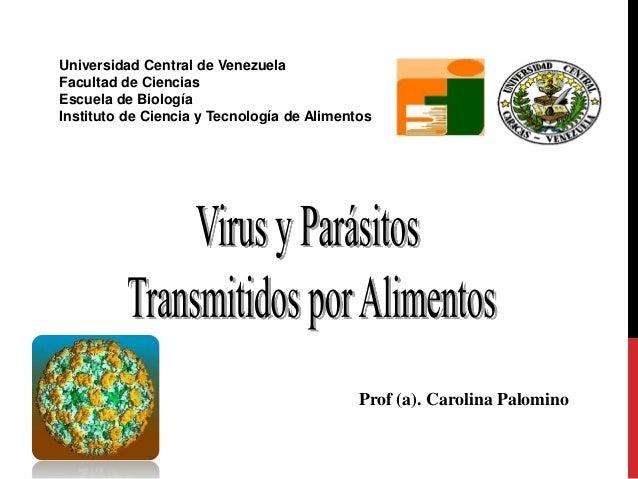 Prof (a). Carolina Palomino Universidad Central de Venezuela Facultad de Ciencias Escuela de Biología Instituto de Ciencia...