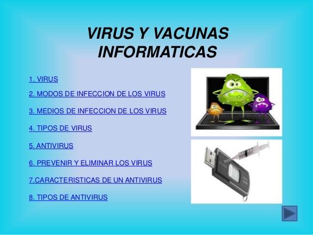 VIRUS Y VACUNAS                INFORMATICAS1. VIRUS2. MODOS DE INFECCION DE LOS VIRUS3. MEDIOS DE INFECCION DE LOS VIRUS4....