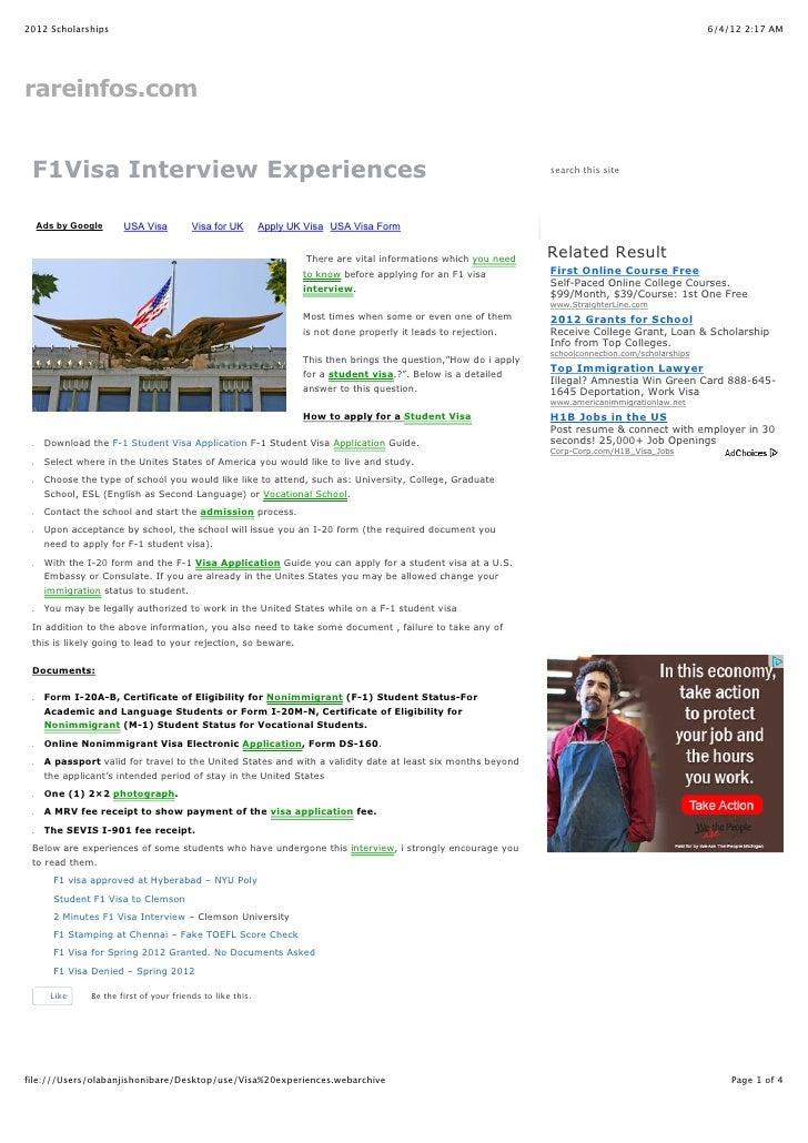 Visa experiences