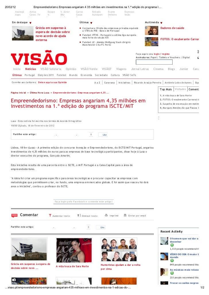 Empreendedorismo: Empresas angariam €4,35 M em investimentos na 1.ª edição da ISCTE/MIT VC