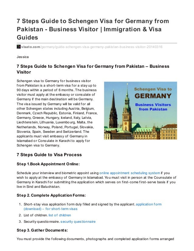 7 Steps Guide to Schengen Visa for Germany from Pakistan – Business Visitor