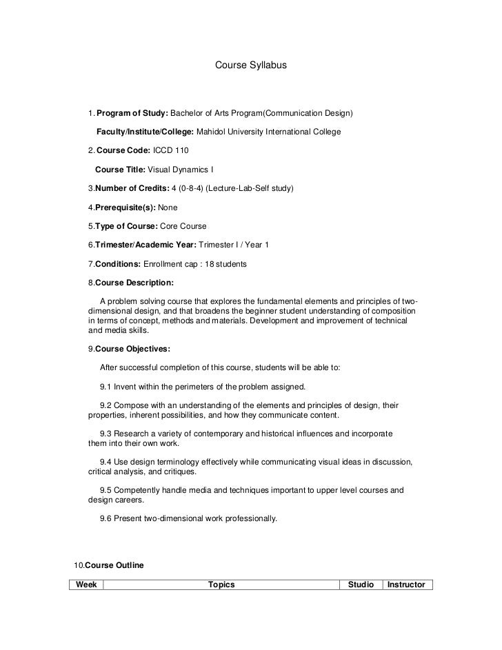 Course Syllabus   1. Program of Study: Bachelor of Arts Program(Communication Design)     Faculty/Institute/College: Mahid...