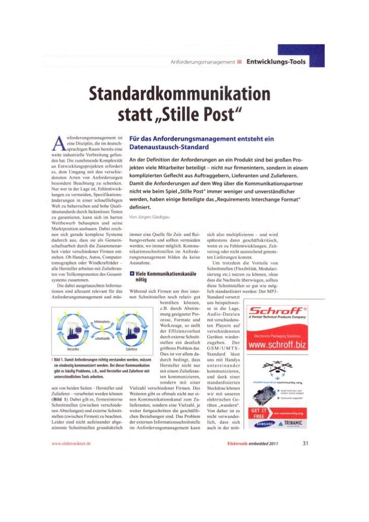 Requirements Engineering - Elektronik embedded november 2011