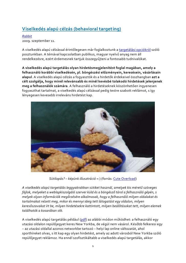 Viselkedés alapú célzás (behavioral targeting) Rabbit 2009. szeptember 11.  A viselkedés alapú célzással érintőlegesen már...