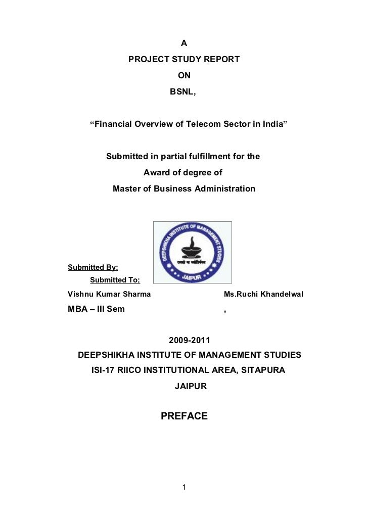 """A                PROJECT STUDY REPORT                            ON                           BSNL,     """"Financial Overvie..."""