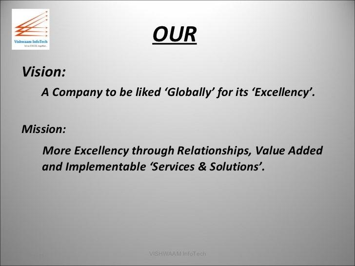 OUR <ul><li>Vision: </li></ul><ul><li>A Company to be liked 'Globally' for its 'Excellency'. </li></ul><ul><li>Mission: </...