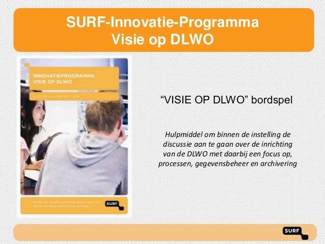 """SURF-Innovatie-Programma Visie op DLWO  """"VISIE OP DLWO"""" bordspel Hulpmiddel om binnen de instelling de discussie aan te ga..."""