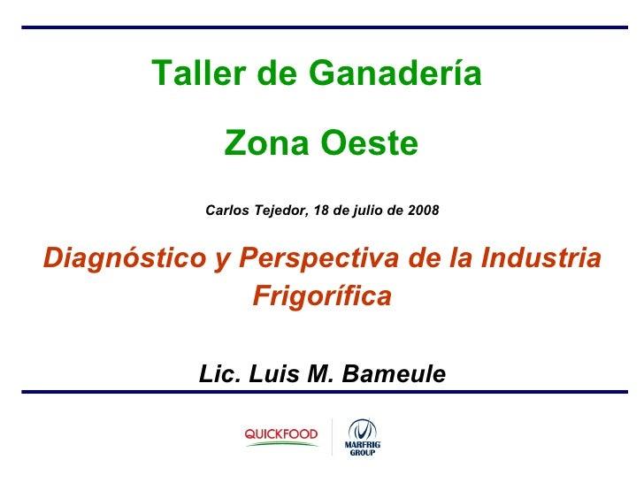 Taller de Ganadería  Zona Oeste Carlos Tejedor, 18 de julio de 2008 Diagnóstico y Perspectiva de la Industria Frigorífica ...