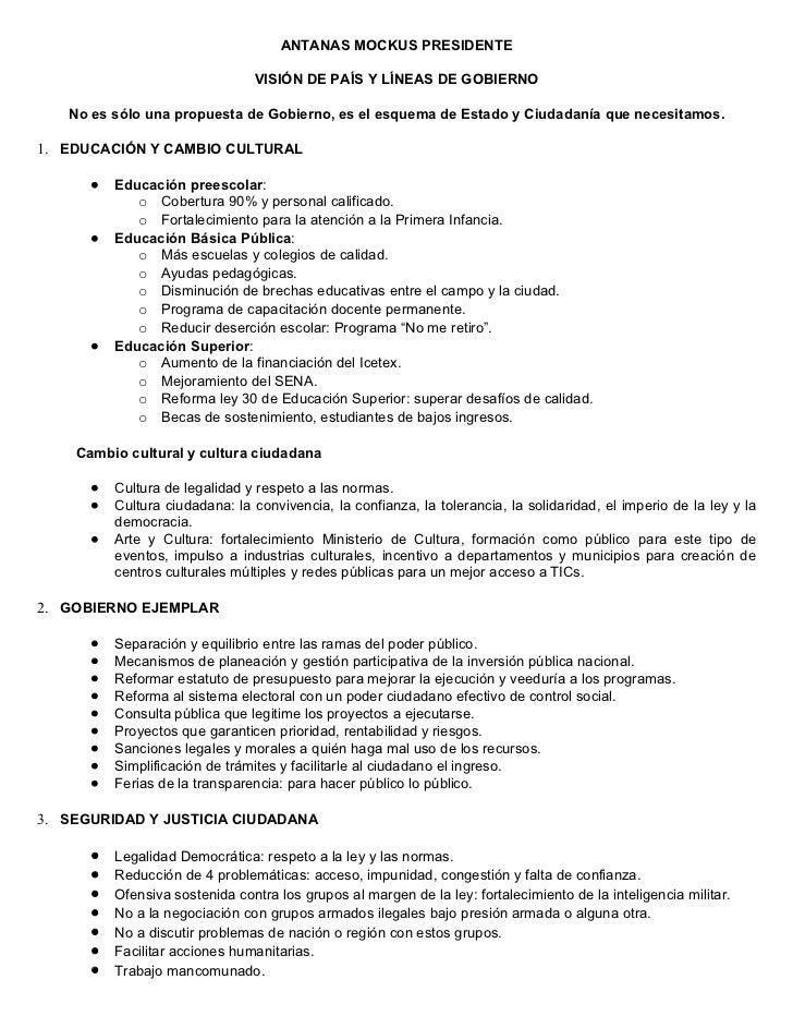 ANTANAS MOCKUS PRESIDENTE                                  VISIÓN DE PAÍS Y LÍNEAS DE GOBIERNO     No es sólo una propuest...