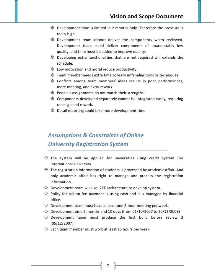 vision and scope document for e learning