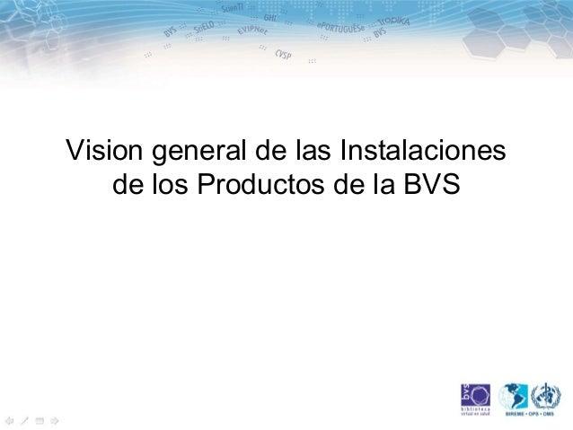 Vision general de las Instalaciones    de los Productos de la BVS