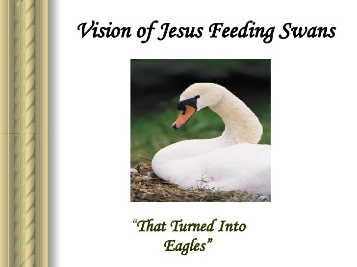 """Vision of Jesus Feeding Swans """" That Turned Into Eagles"""""""