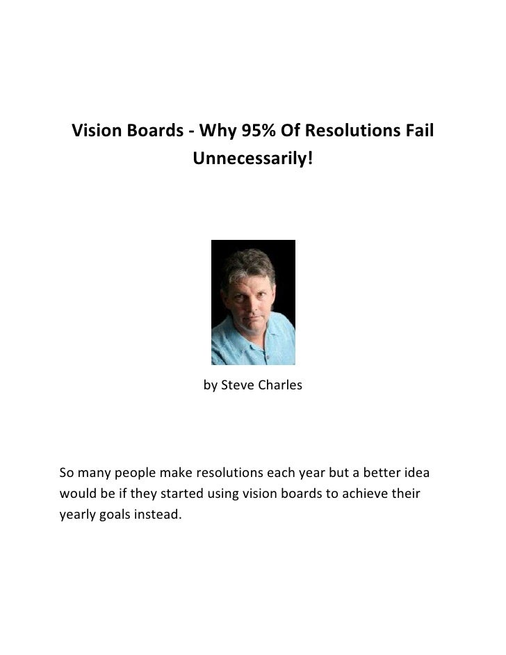 Vision Boards - Why 95% Of Resolutions Fail Unnecessarily!<br />by Steve Charles<br />So many people make resolutions each...