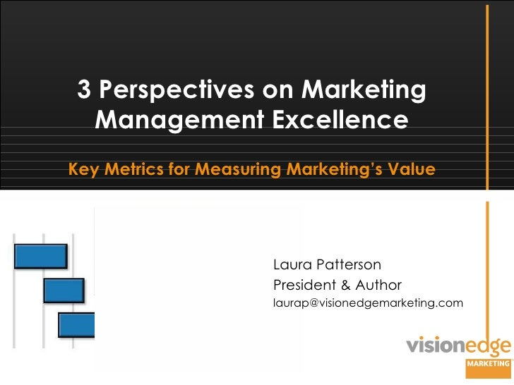 Laura Patterson President & Author [email_address] 3 Perspectives on Marketing Management Excellence Key Metrics for Measu...