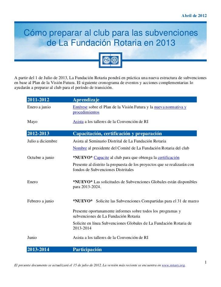 Abril de 2012      Cómo preparar al club para las subvenciones          de La Fundación Rotaria en 2013A partir del 1 de J...
