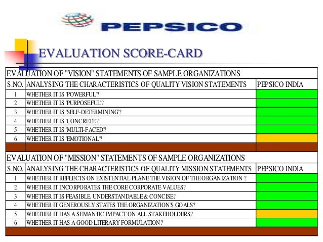evaluating vision and mission statements at pepsico Pepsico sustainability vision pepsico's responsibility is to continually improve  all aspects of the world in which we operate – environment, social, economic.