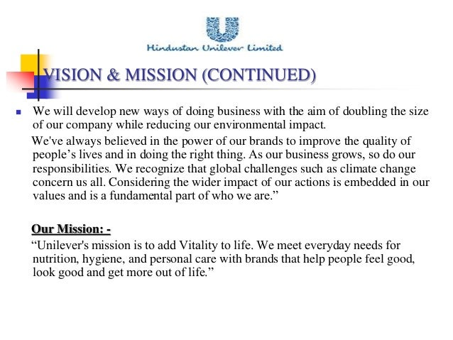 unilever mission statement Unilever mission statement and objectives - download as pdf file (pdf), text file (txt) or read online.