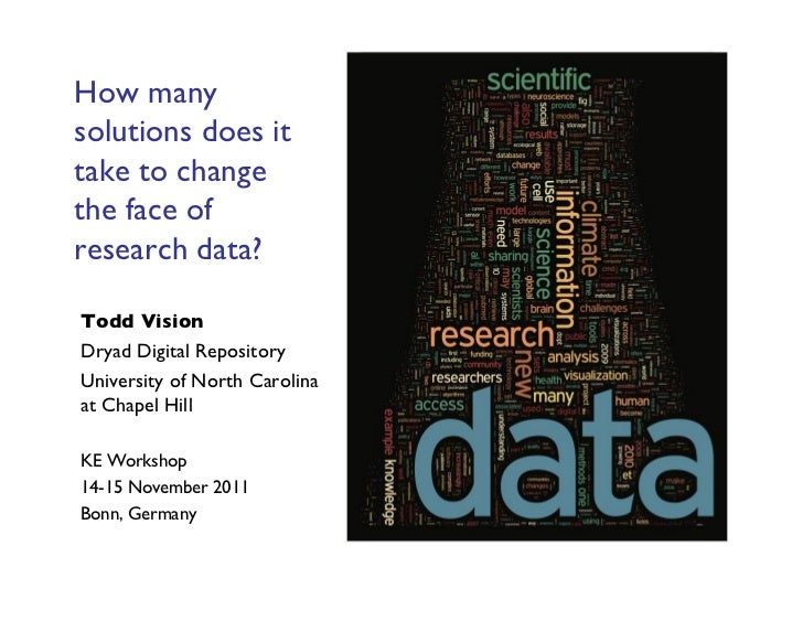 How manysolutions does ittake to changethe face ofresearch data?Todd VisionDryad Digital RepositoryUniversity of North ...