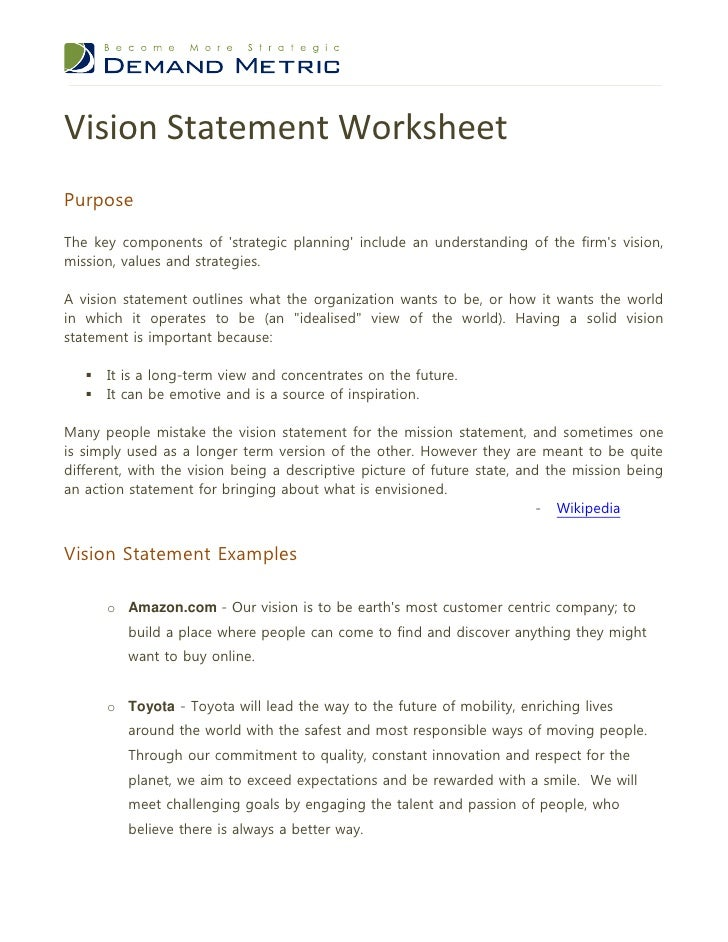 Vision statement worksheet for Vision statement template free