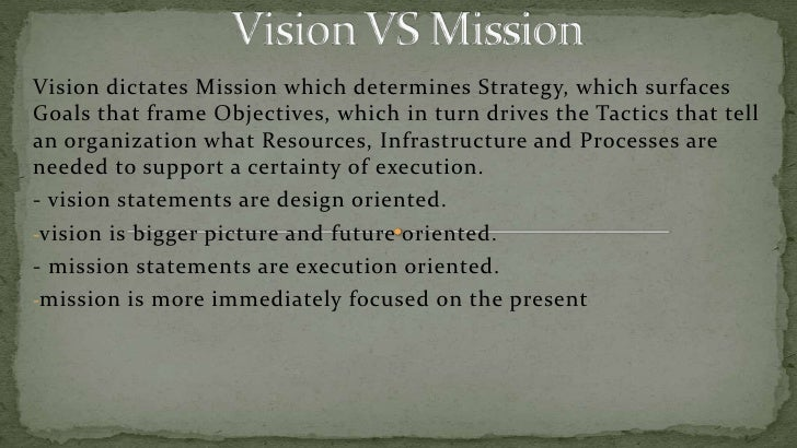 Vision VS Mission<br />Vision dictates Mission which determines Strategy, which surfaces Goals that frame Objectives, whic...