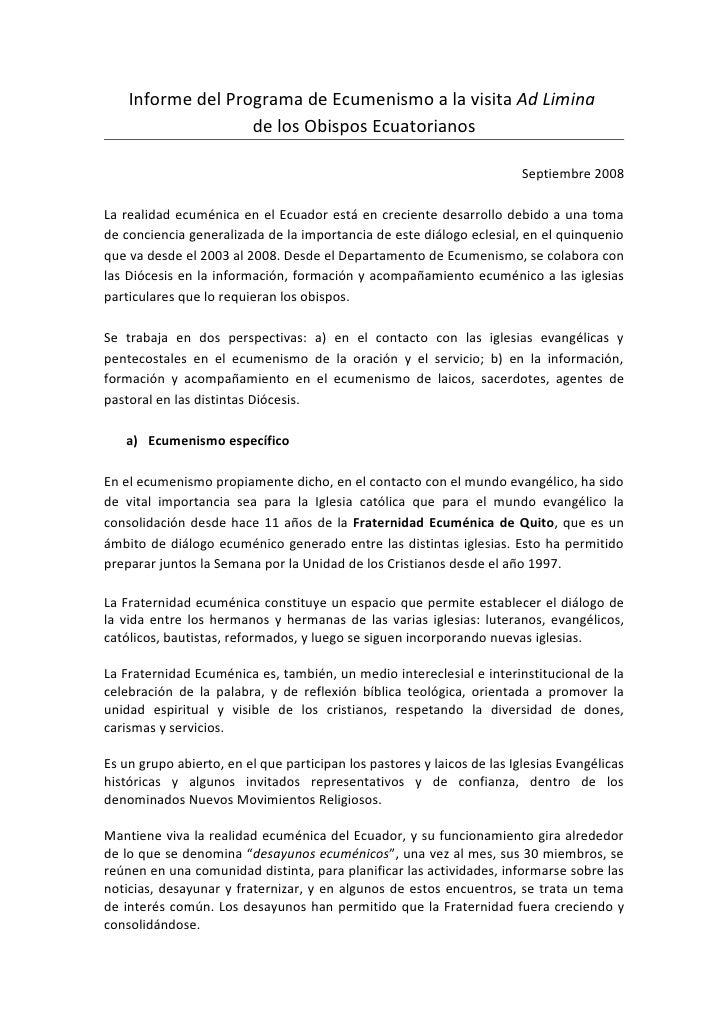 Visita ad limina (2008) - Ecumenismo