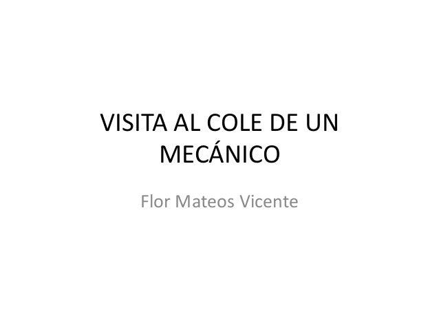 VISITA AL COLE DE UN     MECÁNICO   Flor Mateos Vicente
