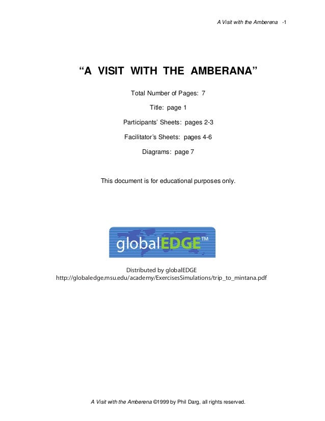 """A Visit with the Amberena -1  """"A VISIT WITH THE AMBERANA"""" Total Number of Pages: 7 Title: page 1 Participants' Sheets: pag..."""
