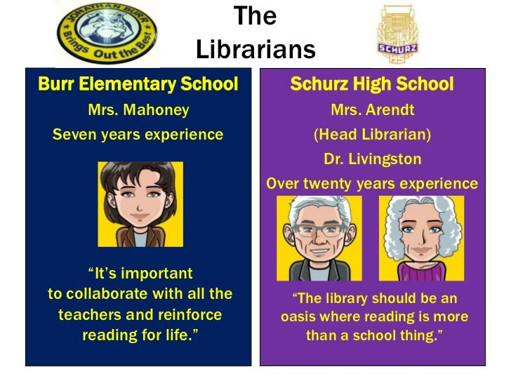 TheLibrarians <br />Burr Elementary School<br />Mrs. Mahoney <br />Seven years experience <br />Schurz High School<br />Mr...