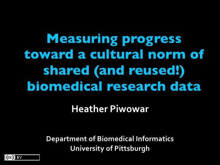 Measuring progress toward a cultural norm of   shared (and reused!) biomedical research data           HeatherPiwowar    ...