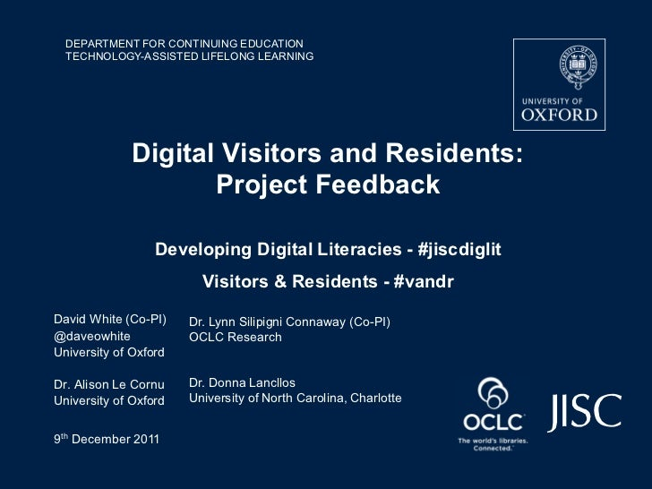 Digital Visitors and Residents: Project Feedback