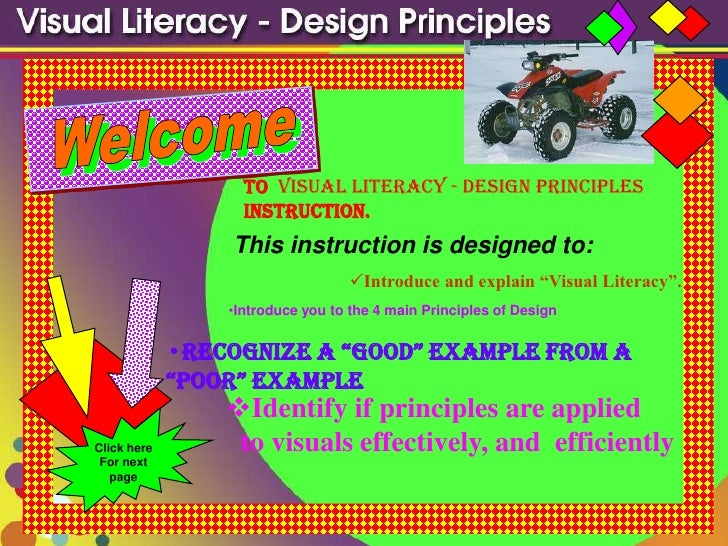 to Visual Literacy - Design Principles                    instruction.                  This instruction is designed to:  ...