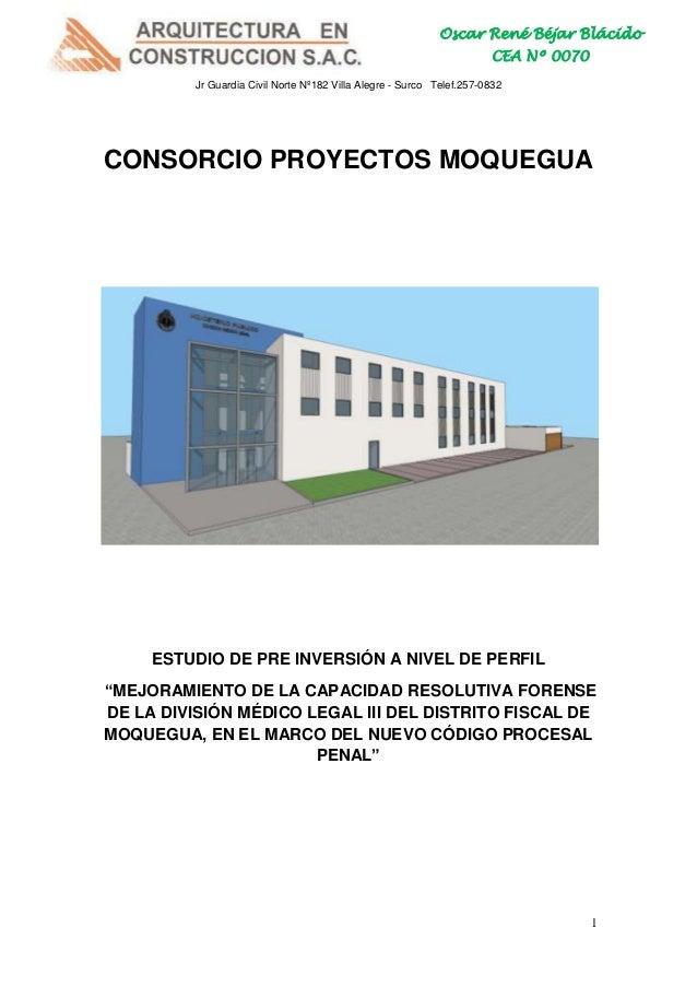 Oscar René Béjar Blácido CEA Nº 0070 Jr Guardia Civil Norte Nº182 Villa Alegre - Surco Telef.257-0832  CONSORCIO PROYECTOS...