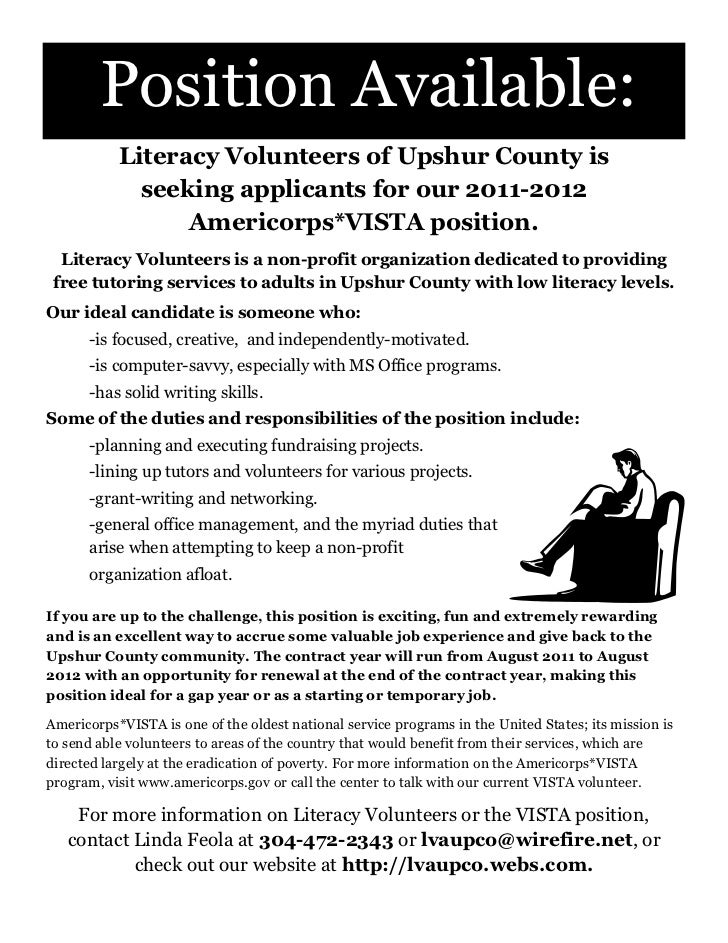 Position Available:           Literacy Volunteers of Upshur County is             seeking applicants for our 2011-2012    ...