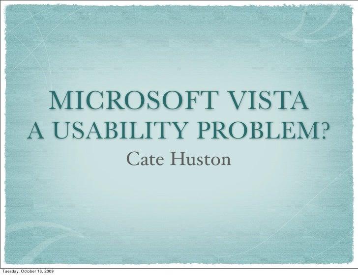 MICROSOFT VISTA             A USABILITY PROBLEM?                             Cate Huston     Tuesday, October 13, 2009