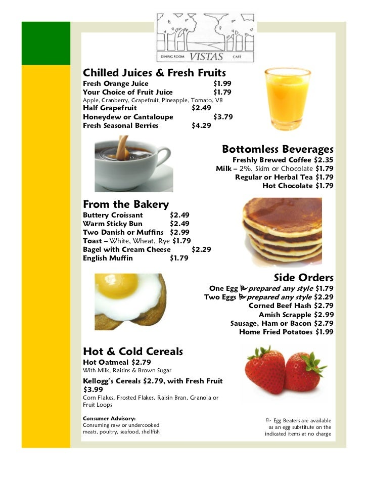 Chilled Juices & Fresh FruitsFresh Orange Juice                               $1.99Your Choice of Fruit Juice             ...