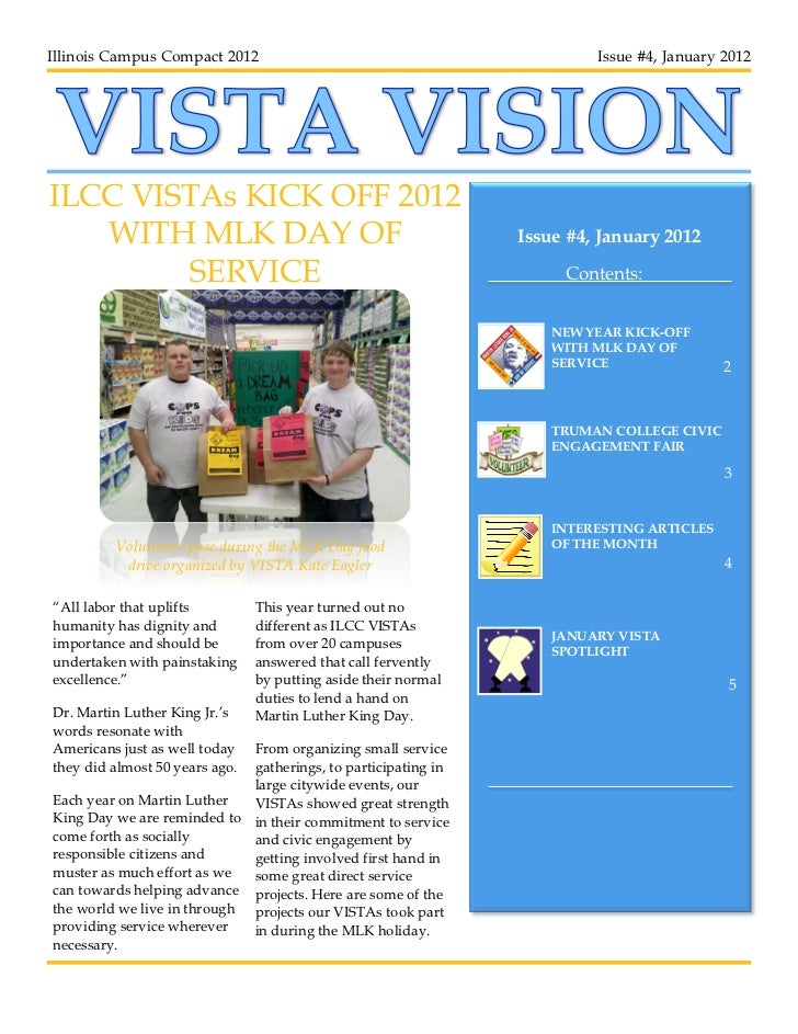 Illinois Campus Compact 2012                                             Issue #4, January 2012ILCC VISTAs KICK OFF 2012  ...