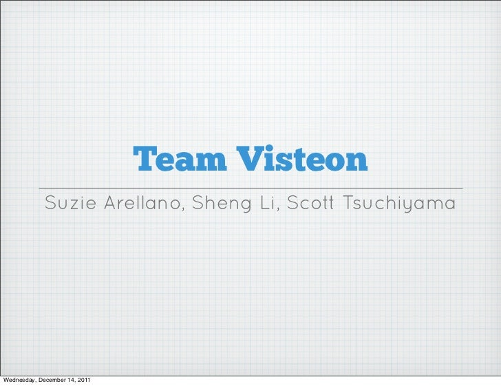 Team Visteon             Suzie Arellano, Sheng Li, Scott TsuchiyamaWednesday, December 14, 2011