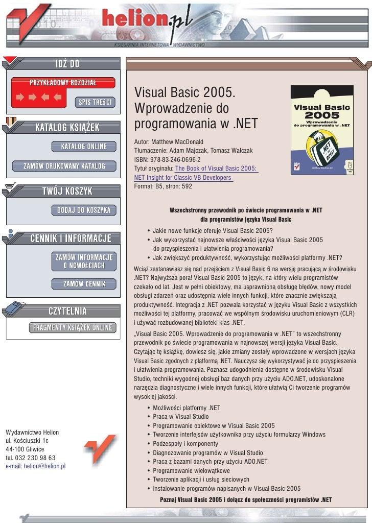 Visual Basic 2005.                            Wprowadzenie do                            programowania w .NET             ...