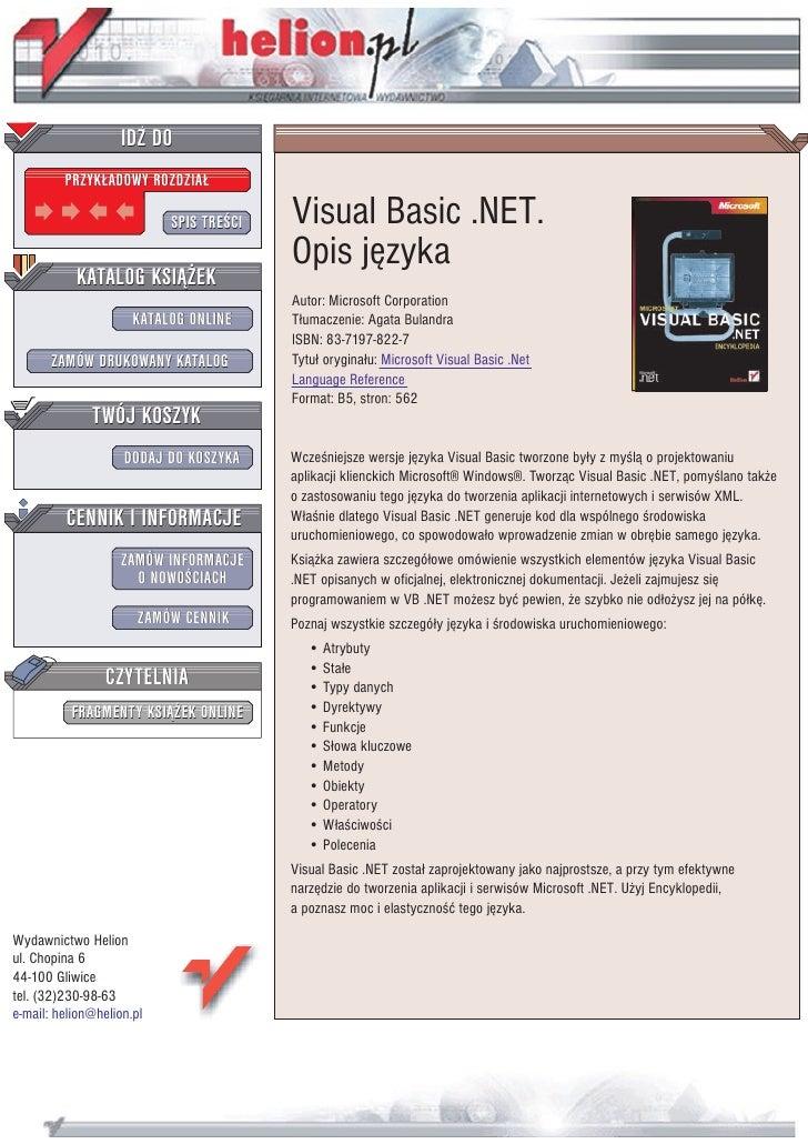 Visual Basic .NET. Encyklopedia