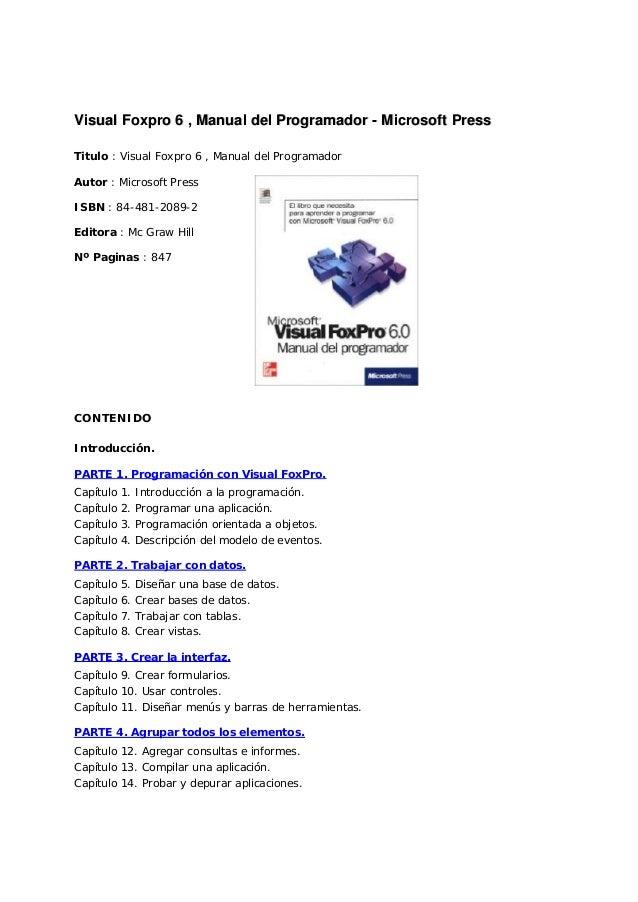 VViissuuaall FFooxxpprroo 66 ,, MMaannuuaall ddeell PPrrooggrraammaaddoorr -- MMiiccrroossoofftt PPrreessss Titulo : Visua...