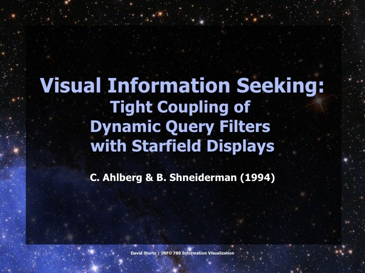 Visual Information Seeking: Tight Coupling of Dynamic Query Filters with Starfield Displays (Ahlberg & Shneiderman 1994)