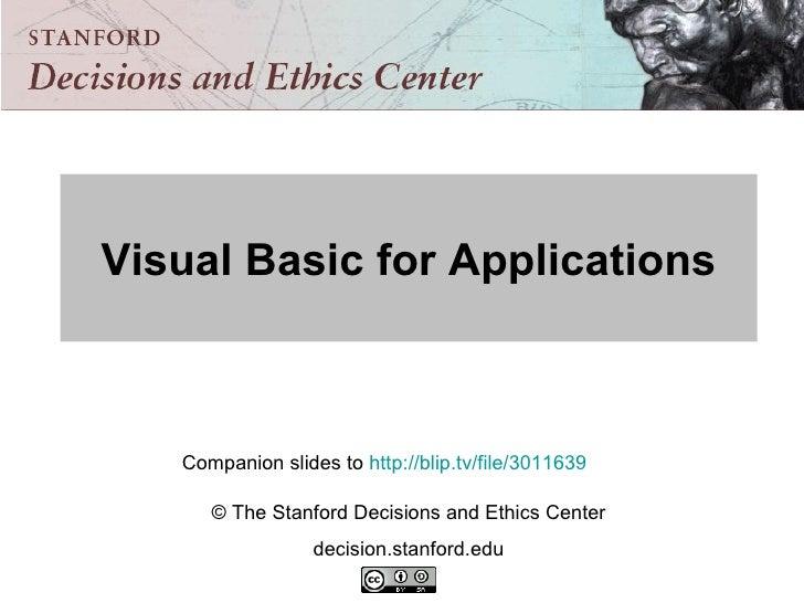 Visual Basic For Applications Companion Slides